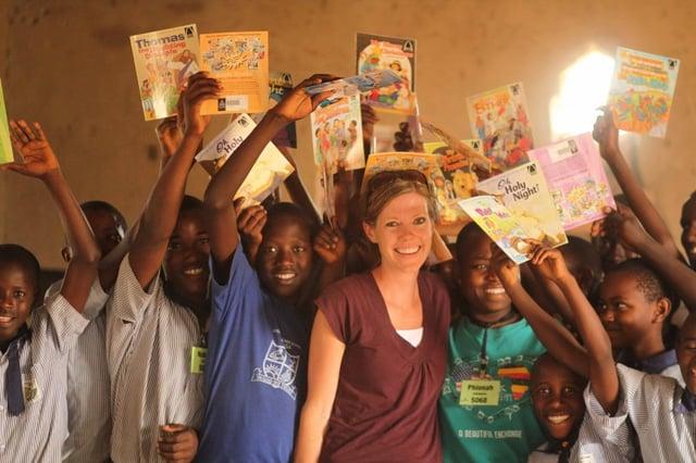 Erin Van Tuinen with the thrilled Sanga school students